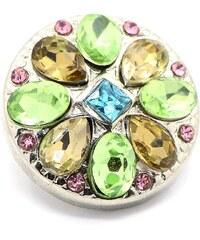 JewelsHall Knoflík Cvak - barevné krystaly - 1,8 cm