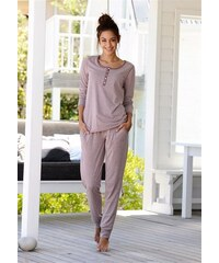 Basic-Pyjama in melierter Qualität mit Knopfleiste Arizona lila 32/34,36/38,40/42,44/46,48/50,52/54,56/58