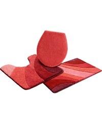 MY HOME Badematte Stand WC-Set Josie (3-tlg.) Microfaser Höhe 20 mm rutschhemmender Rücken rot 11 (3-tlg. Stand-WC-Set)