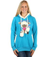TopMode Dámská mikina s roztomilým obrázkem a s kapucí modrá