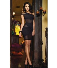 001 Dámské sexy šaty koktejlky asymetrické černé + tanga zdarma