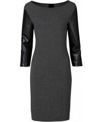 RAINBOW Úpletové šaty s rukávy z umělé kůže bonprix