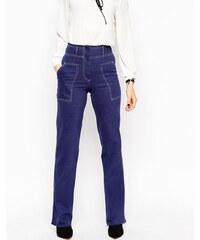 ASOS - Hose im Stil der 90er Jahre mit weitem Bein und Fransensaum - Marineblau