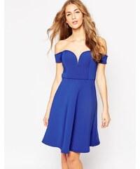 Glamorous - Bardot-Skaterkleid mit herzförmigem Dekolleté - Blau