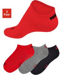 PUMA Nízké ponožky Puma (3 páry) černá+šedý melír+červená