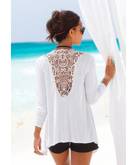 LASCANA Plážový kabátek s háčkovanou vsadkou na bílá