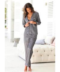 LASCANA Saténové pyžamo, LASCANA černá s potiskem