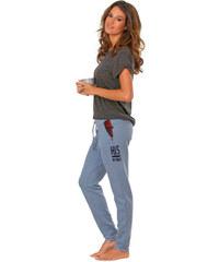 H,I,S Úzké wellness kalhoty, H.I.S džínový melír
