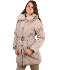 TopMode Krásná dlouhá bunda pro plnoštíhlé béžová
