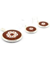 Murano Sada přívěšek medailon a náušnice stříbro 925 - hnědá, bílá - millefiori 23