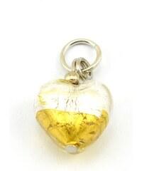 Murano Přívěsek skleněné srdíčko - zlatá, stříbrná - 14