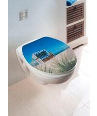 Wenko WC-Sitz Hochglanz Acryl Strandkorb, Absenkautomatik, Fix-Clip Hygiene Befestigung