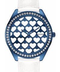 Guess Hodinky White And Blue-Tone Dazzling Hearts Oversized Watch