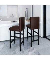 Moderní hnědé barové židle (2ks)