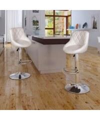 Bílé nastavitelné barové židle BOSTON (2ks)