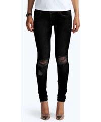BOOHOO Úzké černé džíny s roztrženými koleny