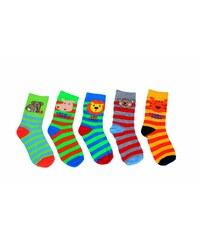 Bugga Dětský set pruhovaných ponožek se zvřátky, 5 párů