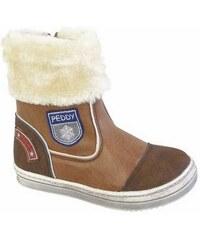 Peddy Dívčí zimní boty s kožíškem - hnědé