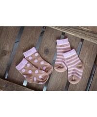Blade & Rose Dívčí ponožky se sovičkou (puntíky a proužky) - fialovo-hnědé, 2 páry