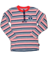 MMDadak Chlapecké pruhované tričko s dlouhým rukávem - červeno-modré