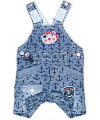 MMDadak Chlapecké lacláčové kalhoty s kotvami - modré