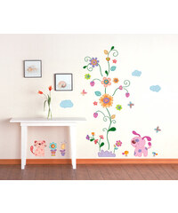 Ambiance Dekorační samolepky - barevná zvířátka a květinový strom