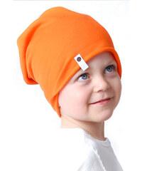 Lamama Originální dětská bavlněná čepice - oranžová
