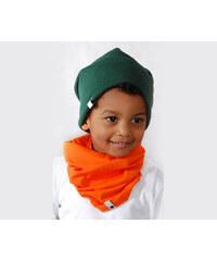 Lamama Originální dětská bavlněná čepice - tmavě zelená