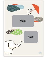 Lilipinso Set papírových fotorámečků, 3 kusy - slon a ptáček, 13x18 cm