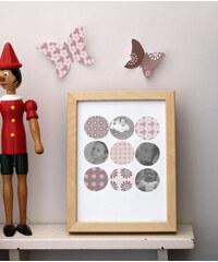 Lilipinso Papírový fotorámeček - kolečka s květy a puntíky, 18x24 cm