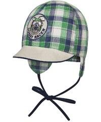 Broel Chlapecká kostkovaná čepice s kšiltem - zeleno-modrá