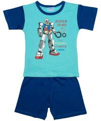 Pettino Chlapecké pyžamo s robotem - tyrkysové
