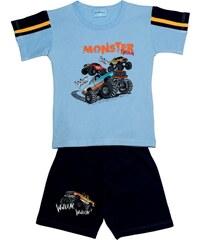 Pettino Chlapecké pyžamo s monster truckem - světle modré