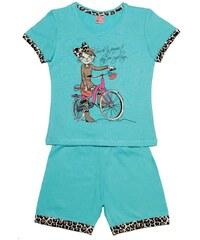 Pettino Dívčí pyžamo s kočkou - tyrkysové