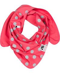 Lamama Dívčí oboustranný puntíkatý šátek - korálový