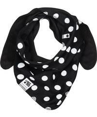 Lamama Dětský oboustranný puntíkatý šátek - černý