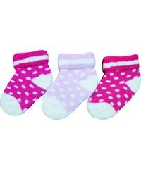 G-mini Dívčí kojenecké ponožky s puntíky (0-6 měsíců), 3 páry