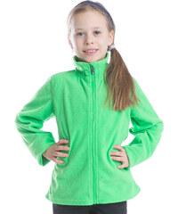 ALPINE PRO Dívčí fleecová mikina na zip Kiero - světle zelená