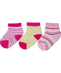 G-mini Dívčí sada ponožek (0-6 měsíců) - 3 páry - růžové, žluté a bílé