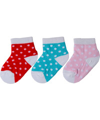 G-mini Dívčí puntíkatá sada ponožek (0-6 měsíců) - 3 páry - červené, modré a světle růžové