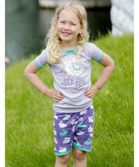 Hatley Dívčí letní pyžamko, fialovo-zelené