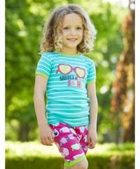 Hatley Dívčí letní pyžamko, růžovo-zelené