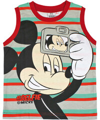 Disney Brand Chlapecké pruhované triko bez rukávů Mickey - červeno - zelené