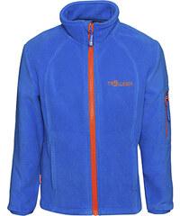Trollkids Modrá fleecová bunda s oranžovými zipy