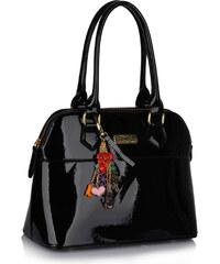 LS fashion LS dámská kabelka lakovaná 6001 černá