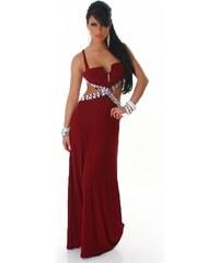 Neuvedena Dámské plesové šaty s kamínky červenohnědé