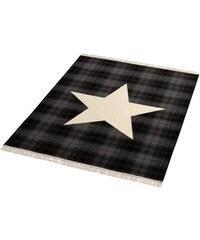 HANSE HOME Teppich Sterne mit Fransen gewebt schwarz 3 (B/L: 140x200 cm)