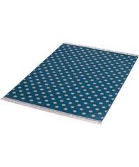 HANSE HOME Teppich Polkadot mit Fransen gewebt blau 3 (B/L: 140x200 cm)