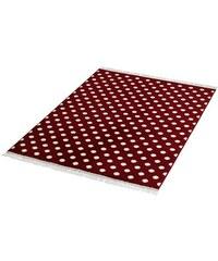 HANSE HOME Teppich Polkadot mit Fransen gewebt rot 3 (B/L: 140x200 cm)