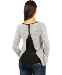 TopMode Krásný svetřík/mikina s vykrojenými zády bílá